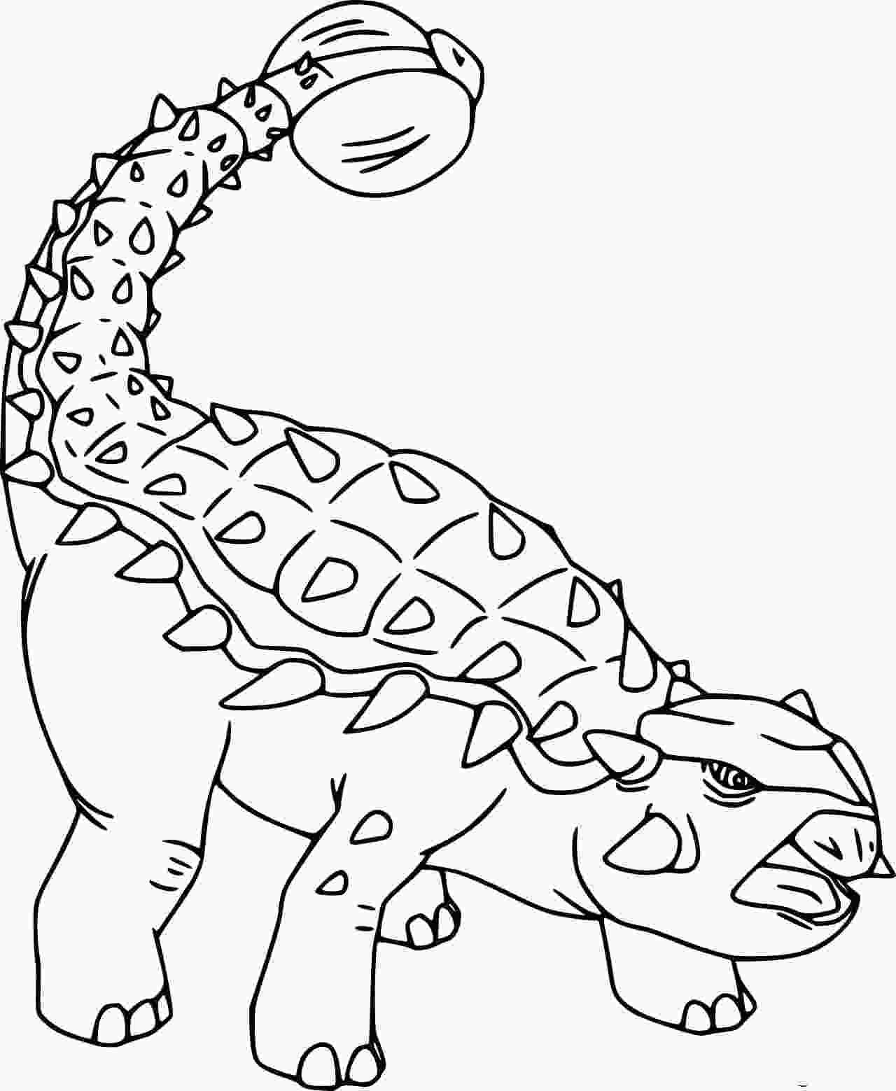 Simple Ankylosaurus Dinosaur Coloring Page