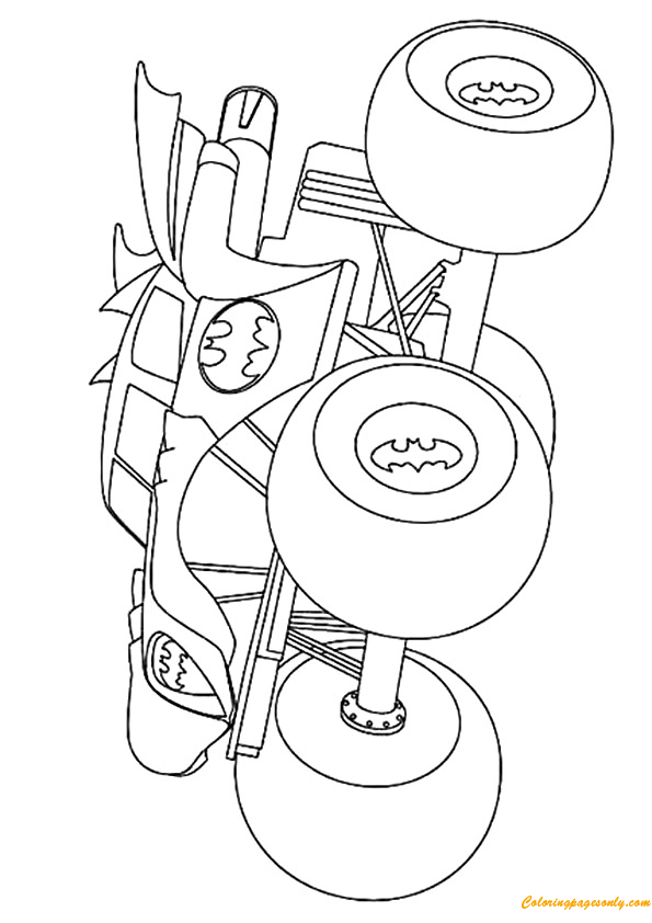 Simple Batman Monster Truck Coloring Page