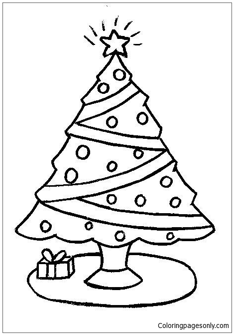 Simple Christmas Tree Coloring Pages Holidays Coloring Pages Free Printable Coloring Pages Online