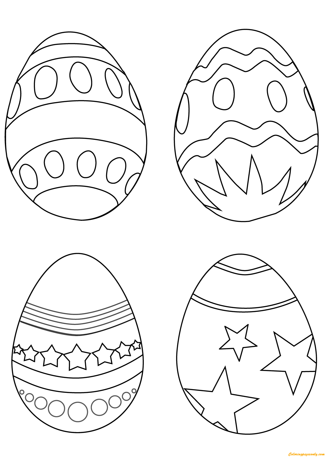 Simple Easter Eggs Coloring Page Free Coloring Pages Online