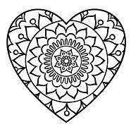 Simple Heart Mandala Coloring Page