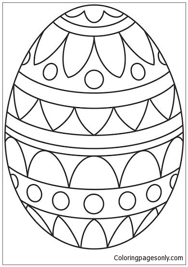 Simple Pattern Easter Egg Coloring Page - Free Coloring ...