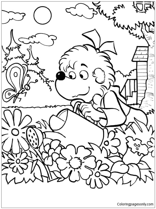 Sister Bear Watering The Garden Coloring Page