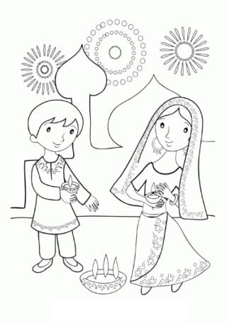 Sister Celebrates New Year Party Coloring Page