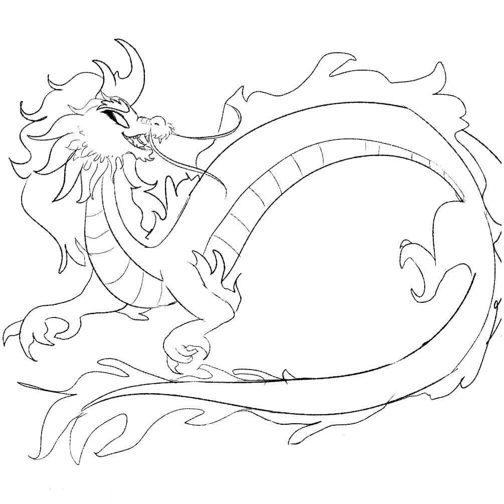 Sisu Dragon in Raya and the Last Dragon Coloring Page