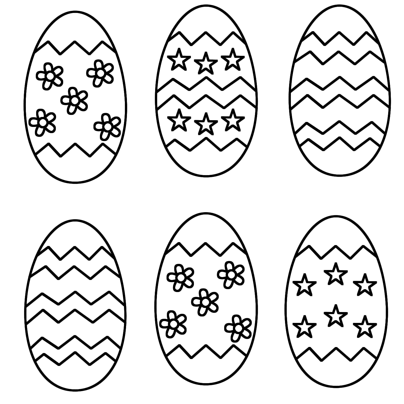 six easter eggs - Coloring Pages Of Easter Eggs