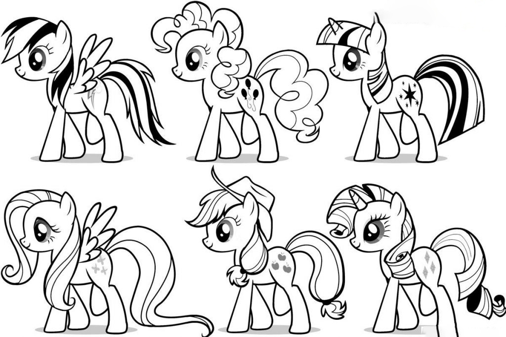 Six Rainbow Dash Ponies Coloring Page