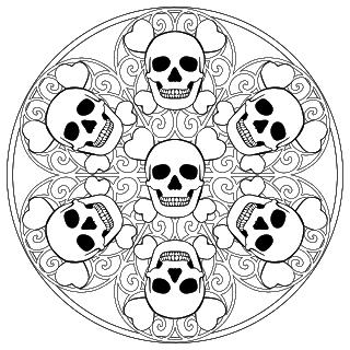Skull Mandala Coloring Page