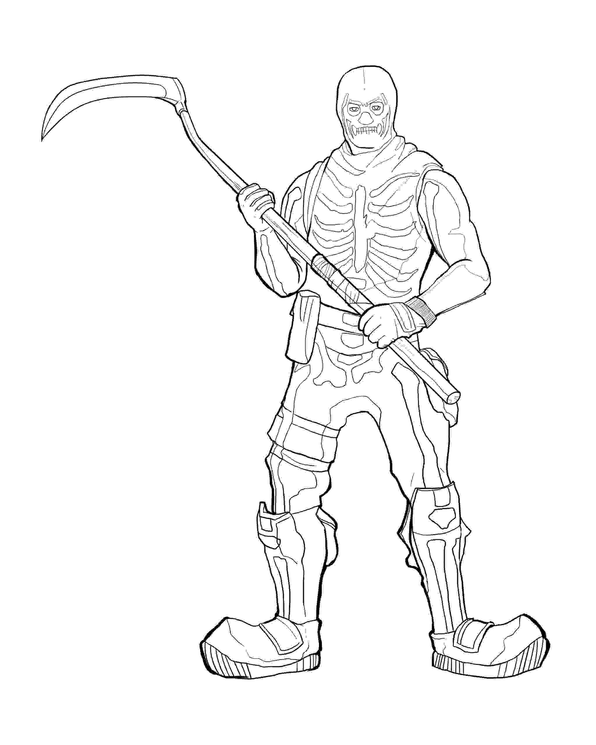 Skull Trooper has a Rare Harvesting Tool in Fortnite Coloring Page