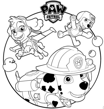 Skye, Marshall and Rocky Coloring Page