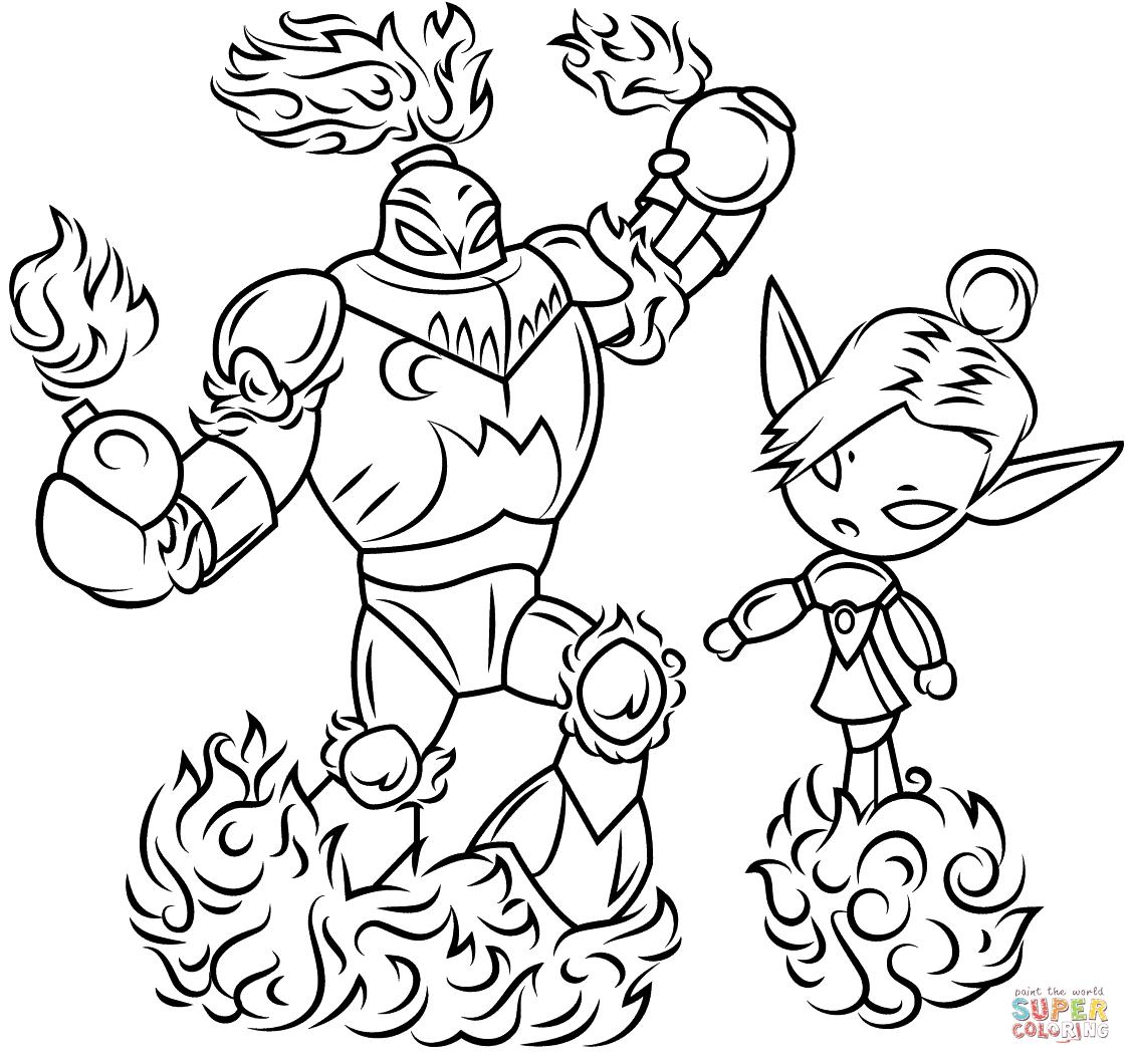 Skylanders Blast Zone And Mini Jini From Skylanders Coloring Page