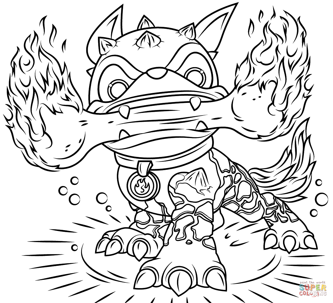 Skylanders Fire Bone Hot Dog From Coloring Page