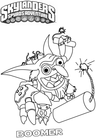 Skylanders Spyro's Adventure Boomer from Skylanders Coloring Page