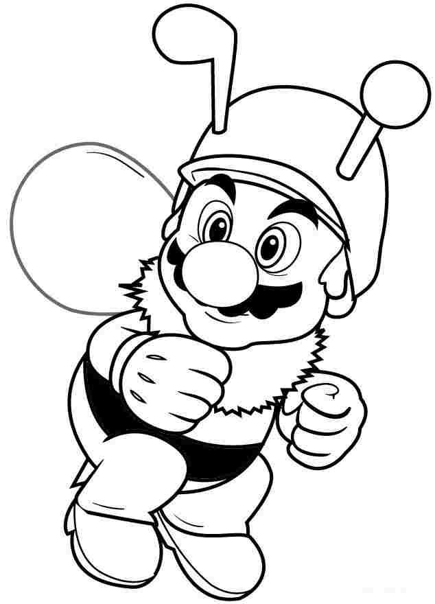 Smiling Bee Mario in Super Mario games Coloring Page