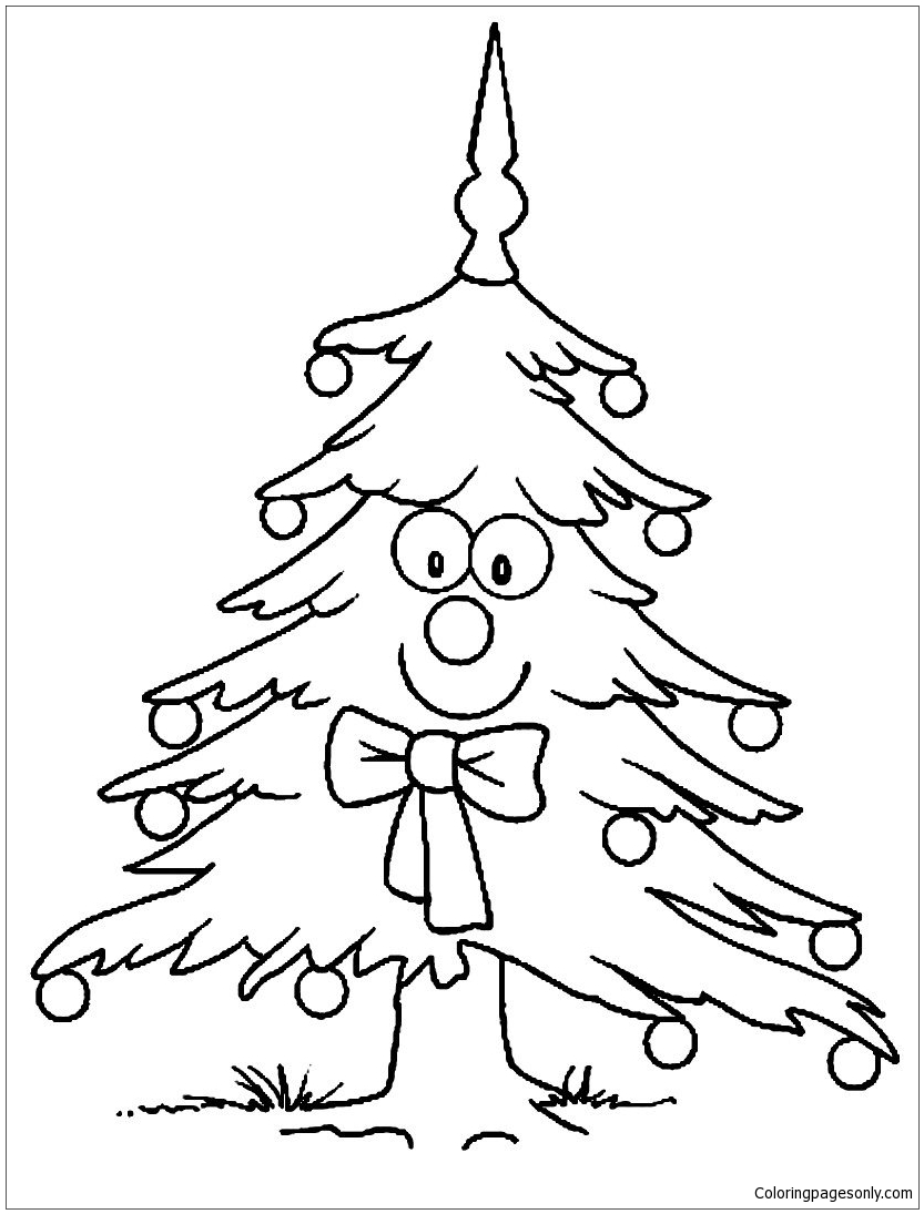 Smiling Christmas Tree Coloring Page