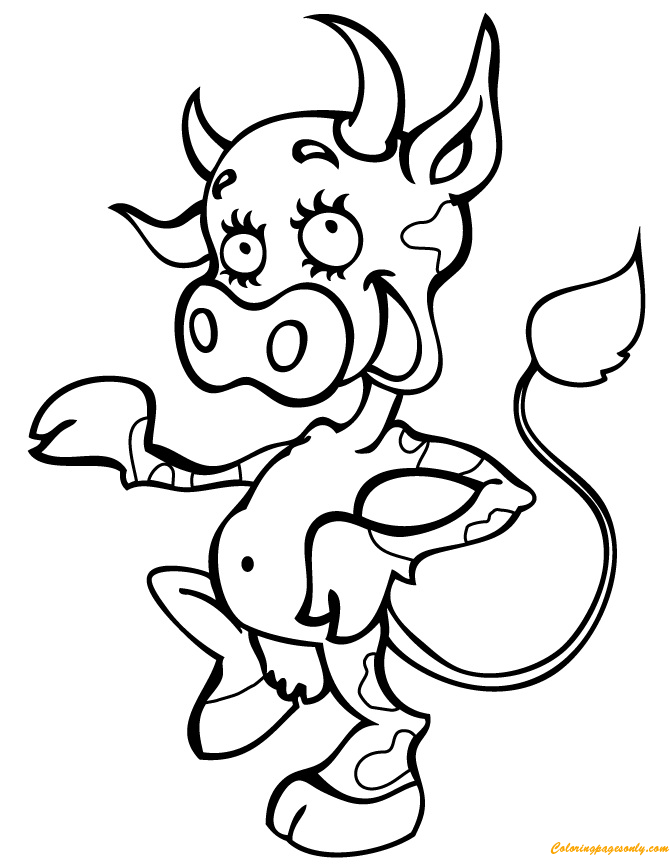 Smiling Happy Cow Coloring Page