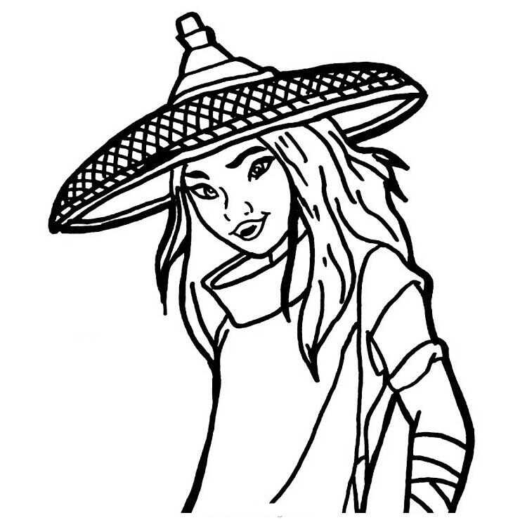 Smiling Raya Princess in her hat from Raya and the Last Dragon Coloring Page