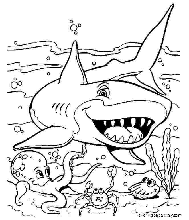 Smiling Shark under the ocean Coloring Page