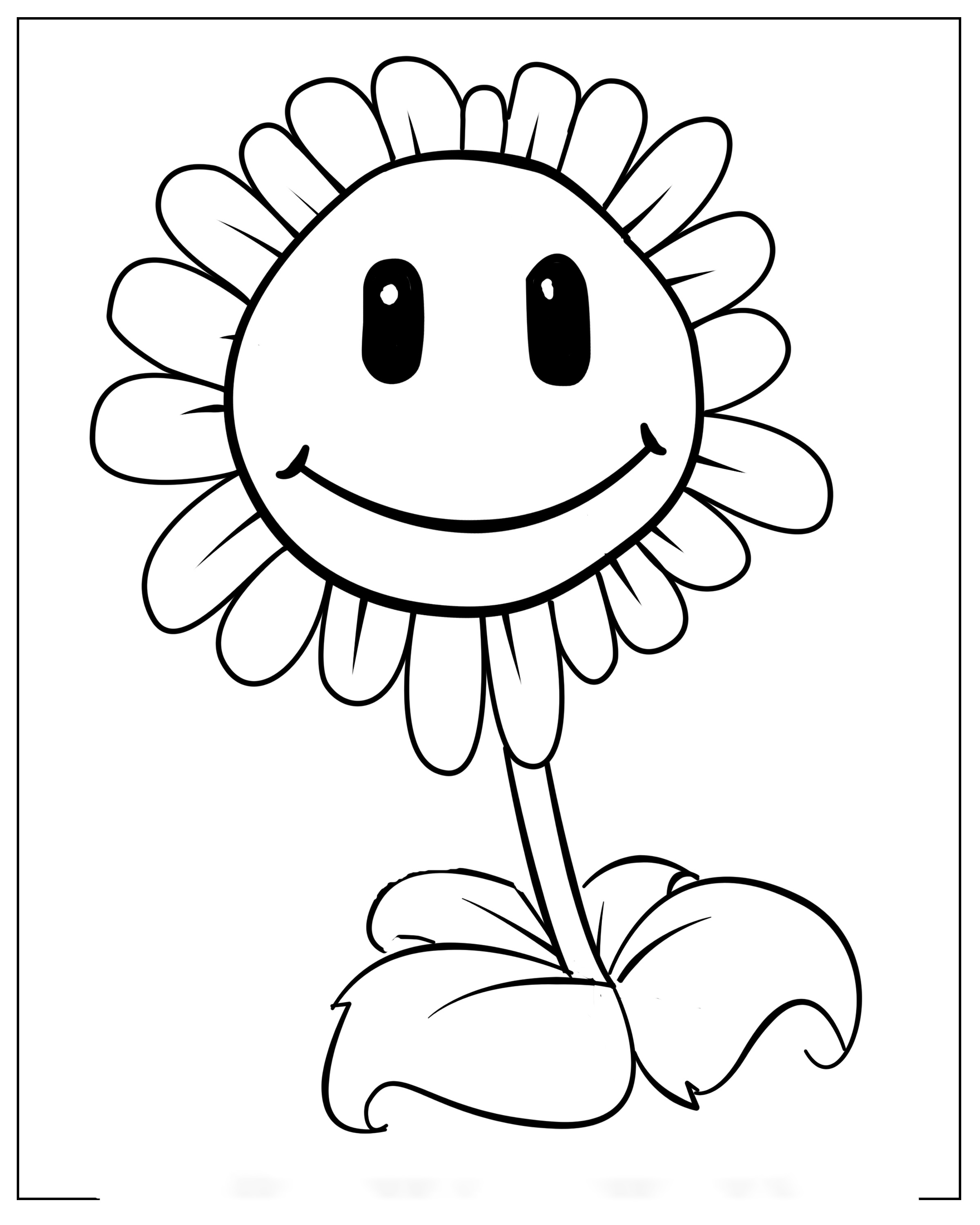 Smiling Sunflower Coloring Page
