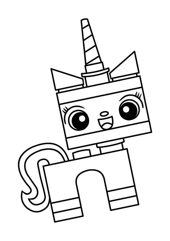 Smiling Unikitty Lego Coloring Page