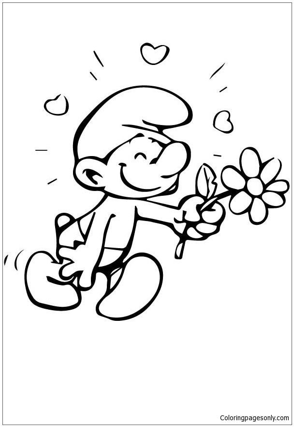 Smurf Is In Love Coloring Page