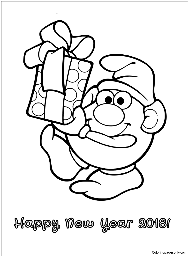 Smurf With New Year Gift Coloring Page