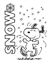 Snoopy Playing With Snow Coloring Page