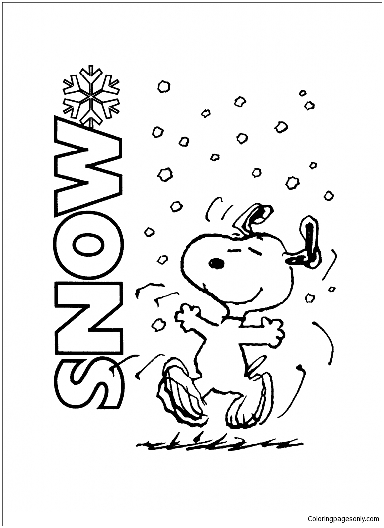 Snoopy Playing With Snow Coloring Page Free Coloring