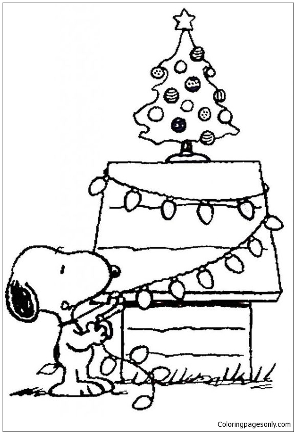 Snoopys Christmas Tree Coloring Page