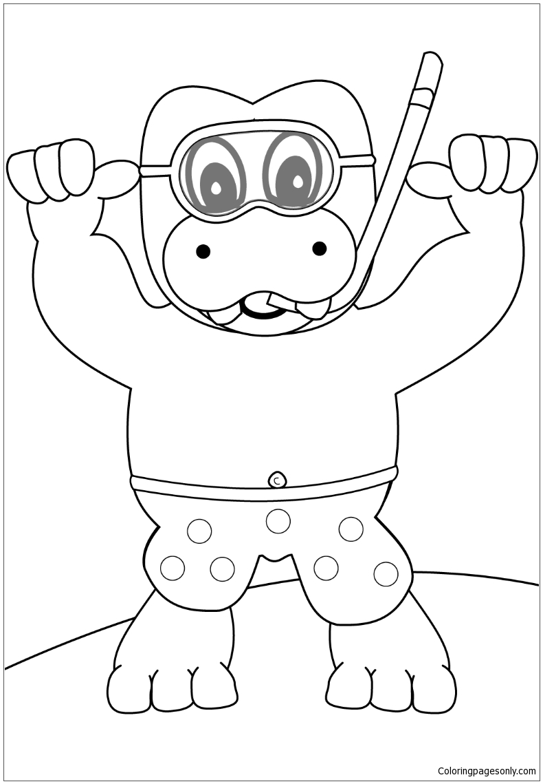 Snorkeling Hippo Coloring Page