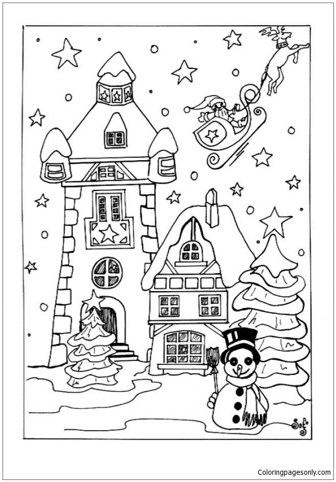 Snow-Covered House Coloring Page