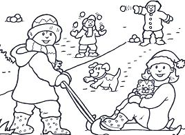 Snow Day Play Coloring Page