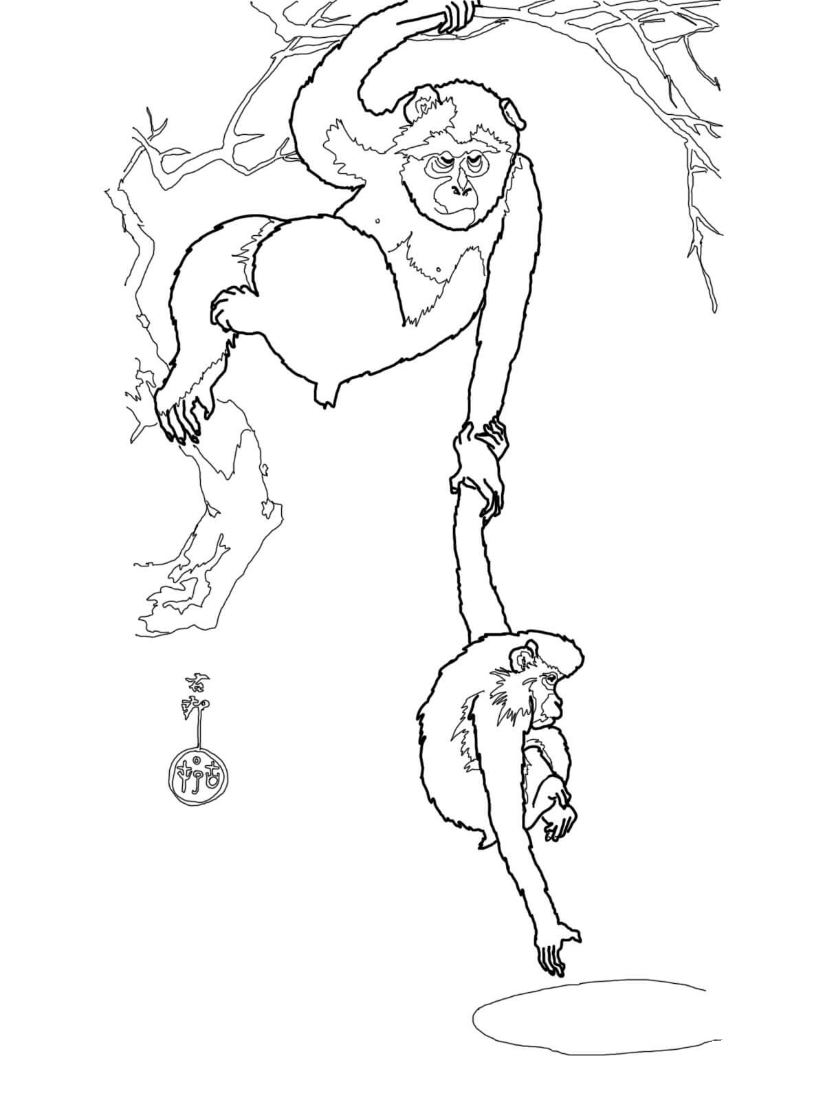 Snow Monkey with Her Child From Famous paintings Coloring Page