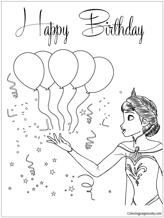 Snow Queen And Balloons Coloring Page