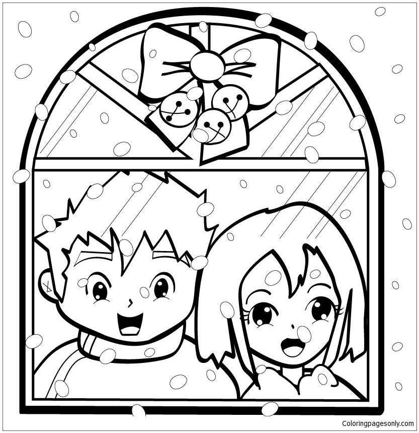 Snowflakes On Christmas Eve Coloring Page
