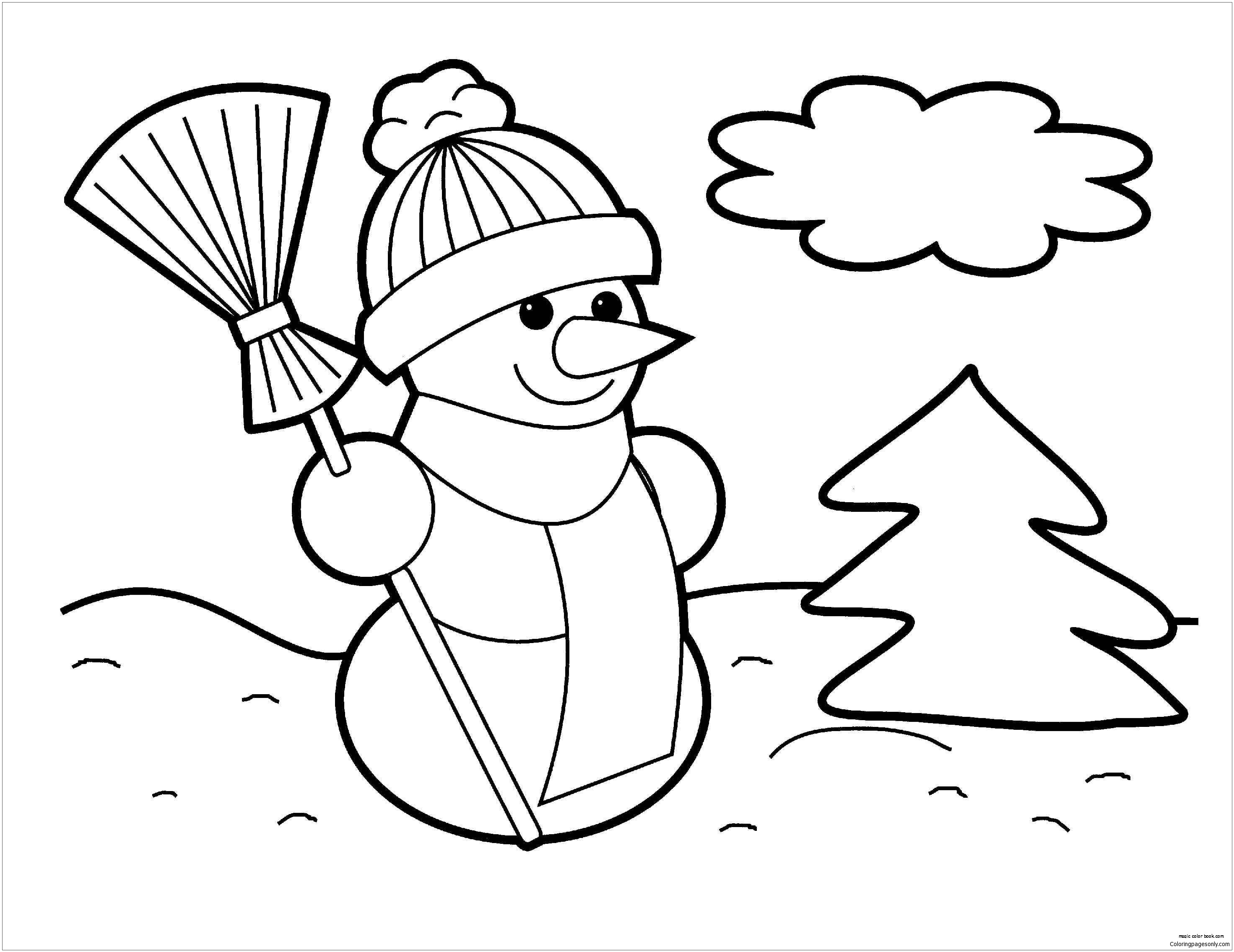 Snowman 1 Coloring Page - Free Coloring Pages Online