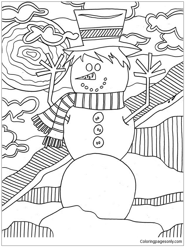 Snowman 2 Coloring Page