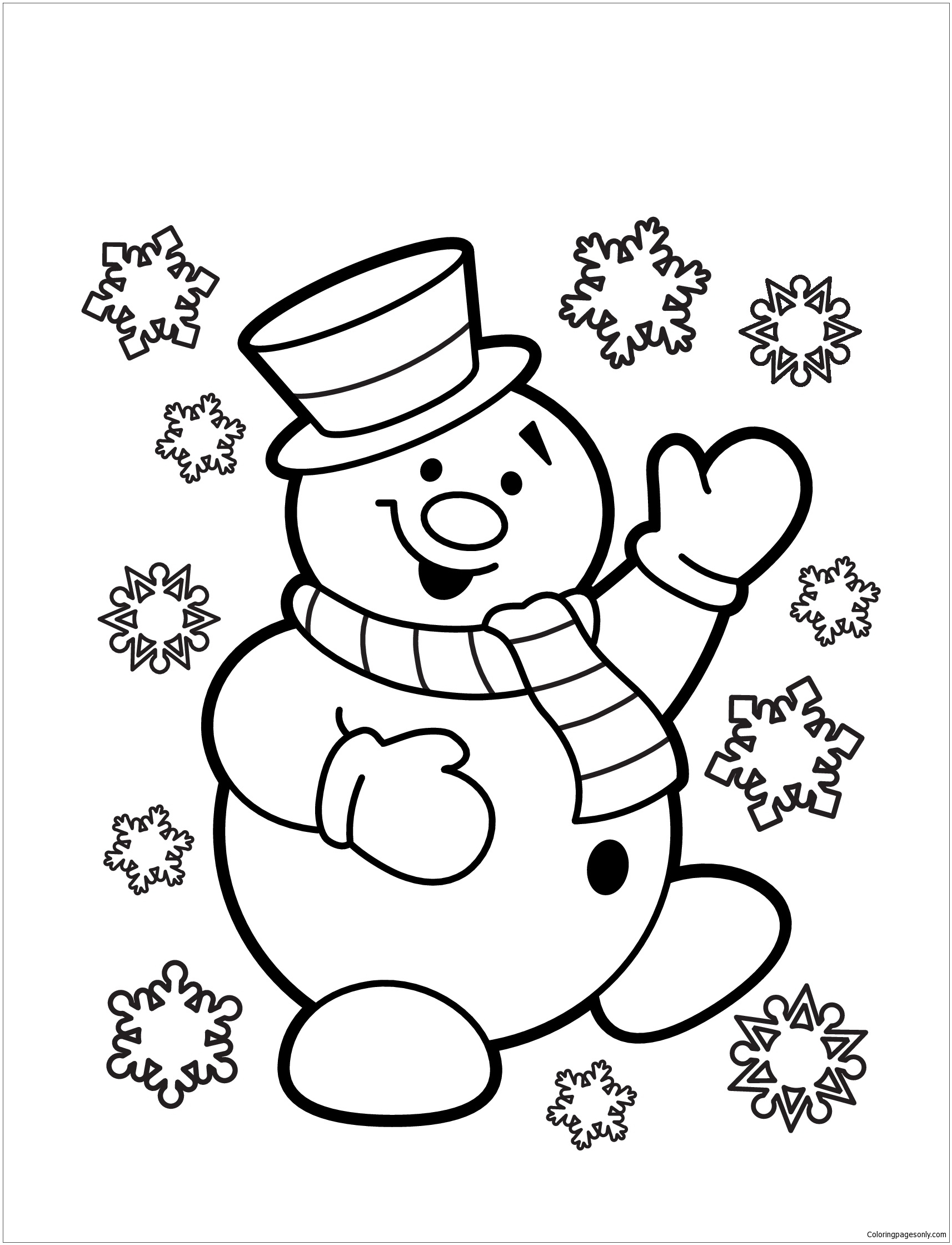 Snowman 3 Coloring Page - Free Coloring Pages Online