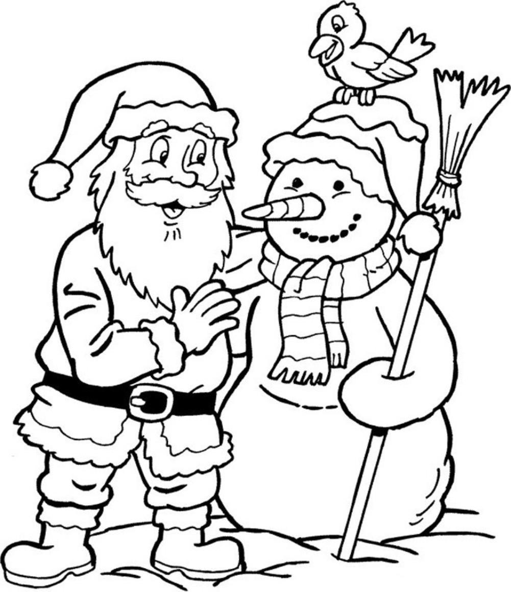 Snowman and Santa Claus Coloring Page