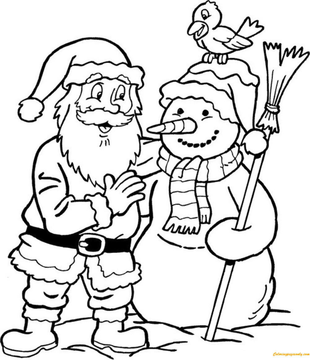 Snowman and Santa Claus Coloring Page Free Coloring
