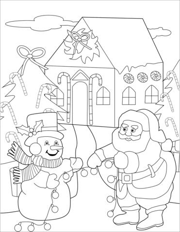 Snowman And Santa Preparing Christmas Trees Coloring Page