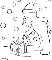 Snowman Opens His Christmas Gift