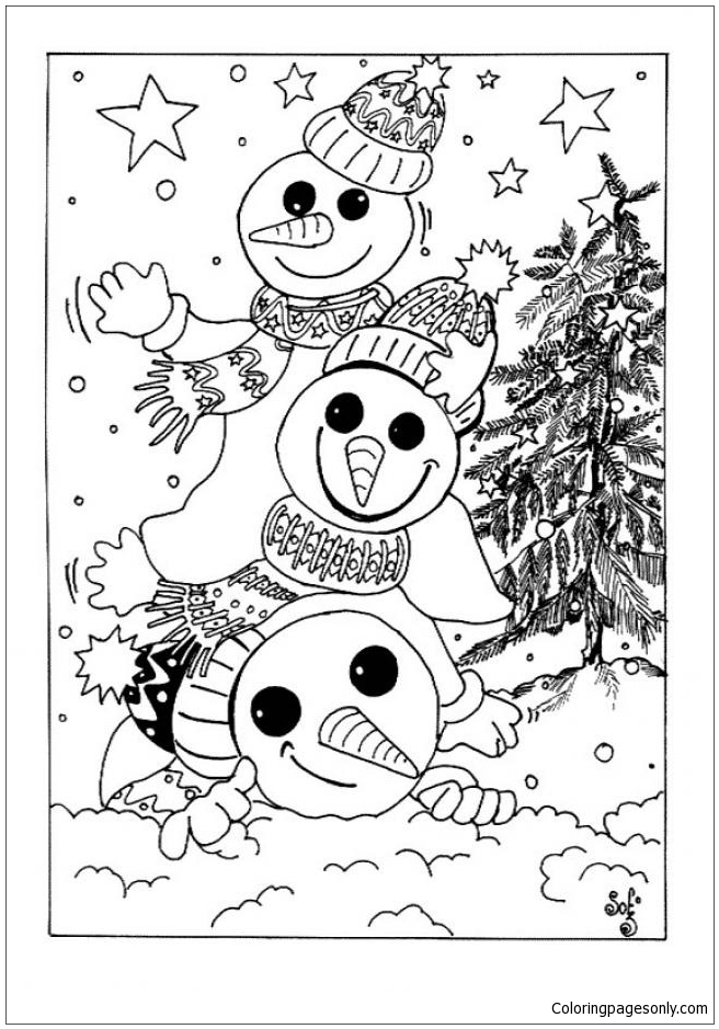 Snowmen For Christmas Eve Coloring Page