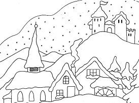 Snowy Winter  Coloring Page