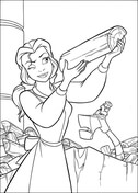 Princess Belle is holding a log from Beauty and the Beast Coloring Page