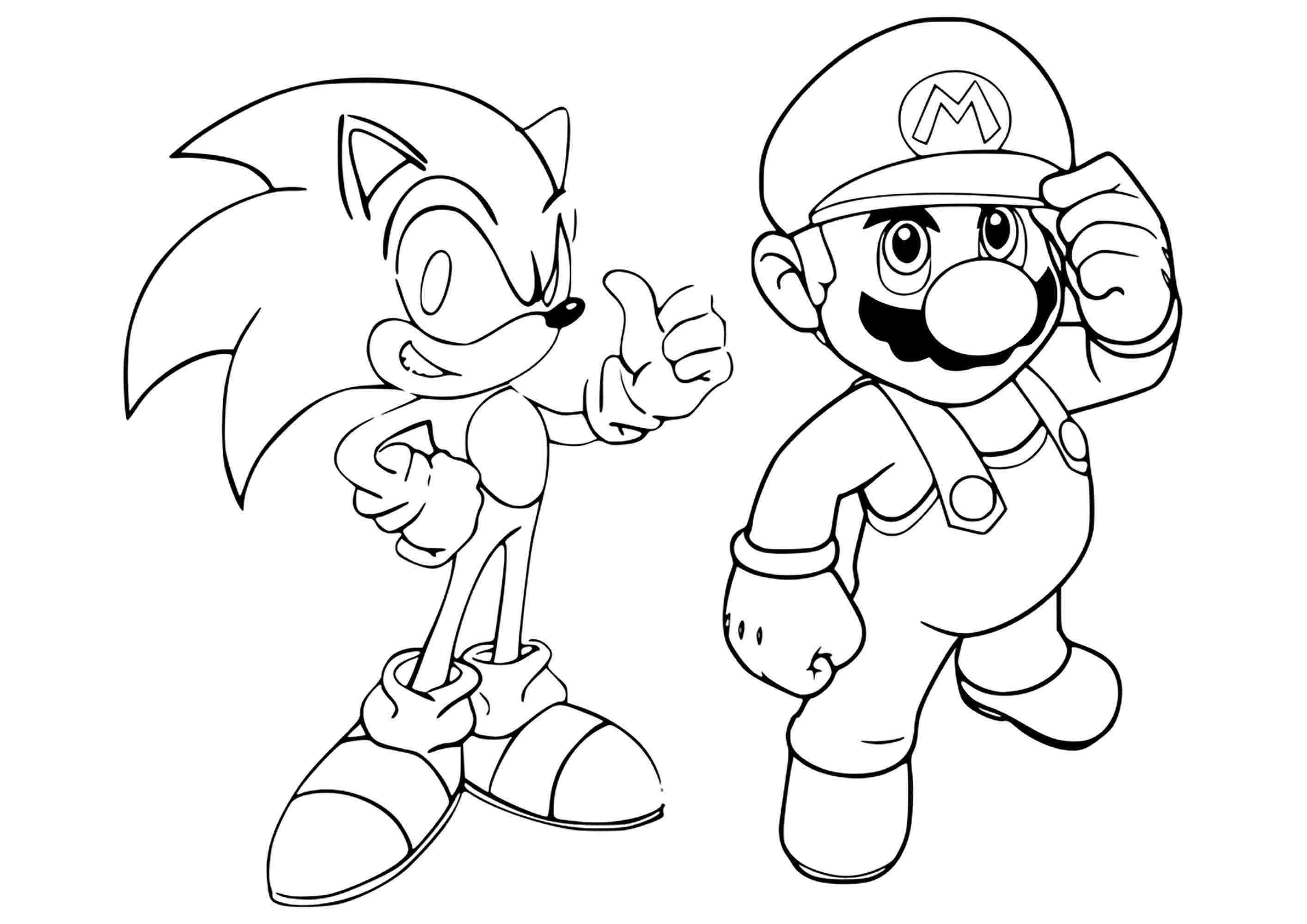 Sonic and Mario at the Olympic Tokyo games console Coloring Page