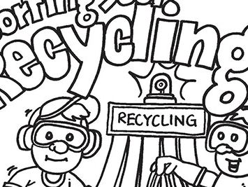 Sorting Your Recycling Coloring Page