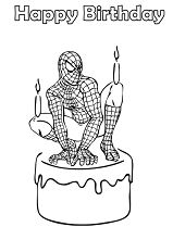 Spider-Man Birthday Coloring Page