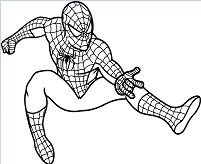 Spiderman shoots web spider Coloring Page
