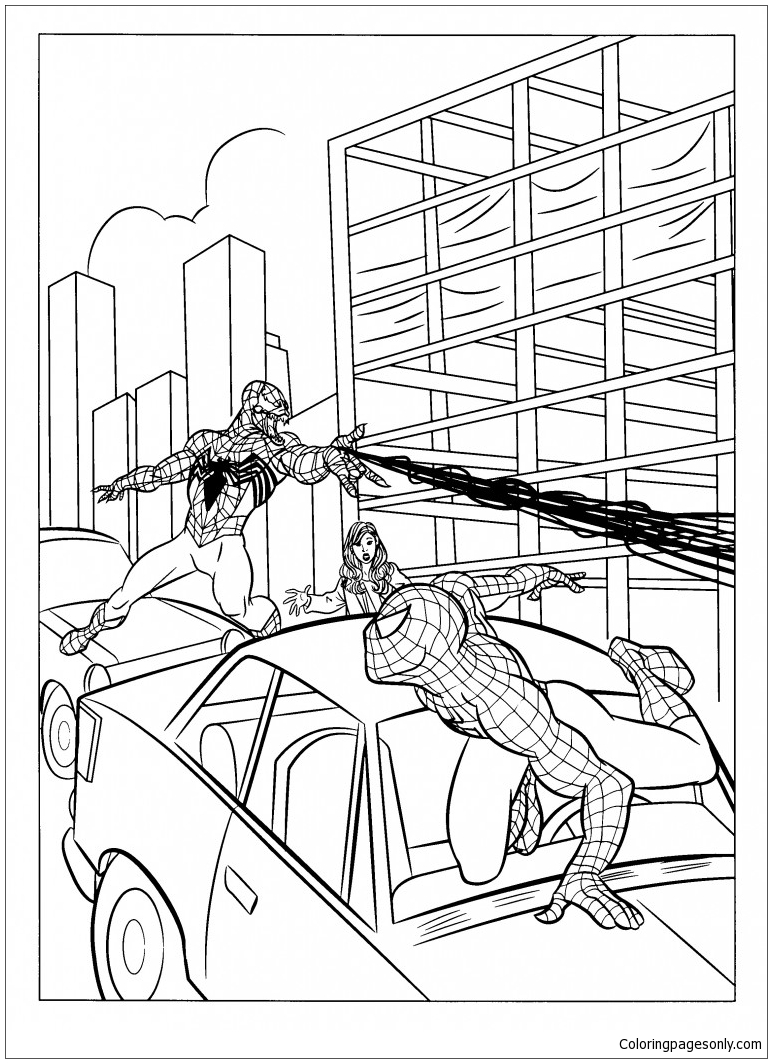 Spiderman And Venom Image 2 Coloring Page Free Coloring Pages Online